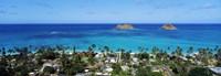 High angle view of a town at waterfront, Lanikai, Oahu, Hawaii, USA Fine Art Print