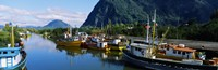 """Boats docked at a harbor, Puerto Aisen, AISEN Region, Patagonia, Chile by Panoramic Images - 28"""" x 9"""""""