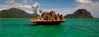 """Rock in Indian Ocean with mountain the background, Le Morne Mountain, Mauritius Island, Mauritius by Panoramic Images - 24"""" x 9"""", FulcrumGallery.com brand"""