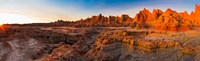 Rock formations on a landscape at sunrise, Door Trail, Badlands National Park, South Dakota, USA Fine Art Print
