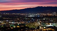 """High angle view of a city at dusk, Culver City, West Los Angeles, Santa Monica Mountains, Los Angeles County, California, USA by Panoramic Images - 16"""" x 9"""""""
