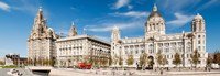 "Buildings at the waterfront, Royal Liver Building, Port Of Liverpool Building, Liverpool, Merseyside, England by Panoramic Images - 26"" x 9"""