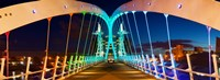 """Millennium Bridge at night, Salford Quays, Salford, Greater Manchester, England by Panoramic Images - 25"""" x 9"""""""