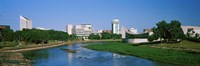 Downtown Wichita viewed from the bank of Arkansas River, Kansas Fine Art Print