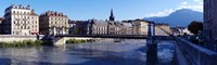 """Chain bridge over a river, Grenoble, Rhone-Alpes, France by Panoramic Images - 30"""" x 9"""""""