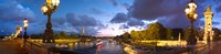 "360 degree view of the Pont Alexandre III bridge at dusk, Seine River, Paris, Ile-de-France, France by Panoramic Images - 36"" x 9"""