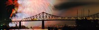 """Fireworks over the Jacques Cartier Bridge at night, Montreal, Quebec, Canada by Panoramic Images - 29"""" x 9"""", FulcrumGallery.com brand"""