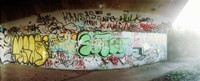 "Abandoned underpass wall covered with graffiti at Fort Tilden beach, Queens, New York City, New York State, USA by Panoramic Images - 22"" x 9"""