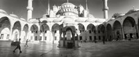 """Courtyard of Blue Mosque in Istanbul, Turkey (black and white) by Panoramic Images - 22"""" x 9"""""""