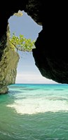 Cliffside cave at Xtabi Hotel, Negril, Westmoreland, Jamaica Fine Art Print