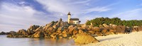 "Lighthouse at the coast, Pontusval Lighthouse, Brignogan-Plage, Finistere, Brittany, France by Panoramic Images - 28"" x 9"""