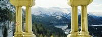 """Mountain range viewed from the balcony of a castle, Hohenschwangau Castle, Bavaria, Germany by Panoramic Images - 25"""" x 9"""""""