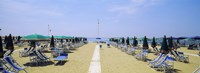 "Deck chairs and umbrellas on the beach, Viareggio, Tuscany, Italy by Panoramic Images - 25"" x 9"""