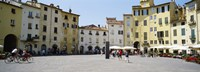 """Tourists at a town square, Piazza Dell'Anfiteatro, Lucca, Tuscany, Italy by Panoramic Images - 25"""" x 9"""" - $28.99"""