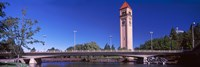 """Bridge with Clock Tower in the background, Riverfront Park, Spokane, Washington State, USA by Panoramic Images - 27"""" x 9"""", FulcrumGallery.com brand"""