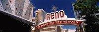 """Low angle view of the Reno Arch at Virginia Street, Reno, Nevada by Panoramic Images - 28"""" x 9"""""""