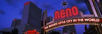 """Low angle view of the Reno Arch at dusk, Virginia Street, Reno, Nevada, USA 2013 by Panoramic Images, 2013 - 27"""" x 9"""""""