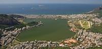 """Elevated view of Lagoa Rodrigo de Freitas and Ipanema from Corcovado, Rio De Janeiro, Brazil by Panoramic Images - 18"""" x 9"""""""