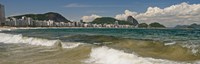 """Waves on Copacabana Beach with Sugarloaf Mountain in background, Rio De Janeiro, Brazil by Panoramic Images - 28"""" x 9"""""""
