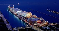 """Navy Pier lit up at dusk, Lake Michigan, Chicago, Cook County, Illinois, USA by Panoramic Images - 17"""" x 9"""""""