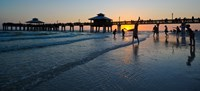 """Pier at sunset, Fort Myers Beach, Estero Island, Lee County, Florida, USA by Panoramic Images - 20"""" x 9"""""""