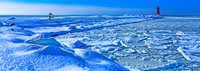 """Manistique Lighthouse in winter, Upper Peninsula, Michigan, USA by Panoramic Images - 25"""" x 9"""""""