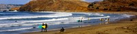"""Surfers on the beach, California, USA by Panoramic Images - 36"""" x 9"""""""