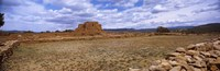 """Landscape view of Pecos Pueblo mission church ruins, Pecos National Historical Park, New Mexico, USA by Panoramic Images - 28"""" x 9"""""""