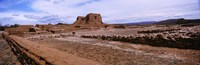 """Landscape view of church ruins, Pecos National Historical Park, New Mexico, USA by Panoramic Images - 28"""" x 9"""""""