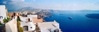 High angle view of a town at coast, Santorini, Cyclades Islands, Greece Fine Art Print