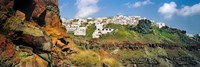 """Houses on a hill, Santorini, Greece by Panoramic Images - 27"""" x 9"""", FulcrumGallery.com brand"""