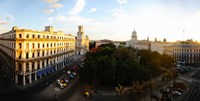 """Buildings in a city, Parque Central, Old Havana, Havana, Cuba by Panoramic Images - 18"""" x 9"""""""