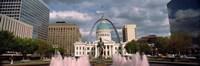 """Government building and fountain surrounded by Gateway Arch, Old Courthouse, St. Louis, Missouri, USA by Panoramic Images - 27"""" x 9"""" - $28.99"""