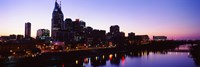 Skylines at dusk along Cumberland River, Nashville, Tennessee, USA 2013 Fine Art Print