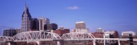 Shelby Street Bridge with downtown skyline in background, Nashville, Tennessee, USA 2013 Fine Art Print
