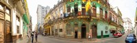 "Buildings along a street, Havana, Cuba by Panoramic Images - 28"" x 9"""
