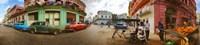 360 degree view of street scene, Havana, Cuba Fine Art Print