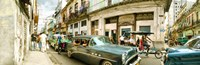 "Old cars on a street, Havana, Cuba by Panoramic Images - 28"" x 9"""