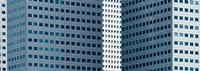 "Close up of buildings in Singapore by Panoramic Images - 26"" x 9"", FulcrumGallery.com brand"