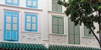 """Restored Building with Blue Door in Chinatown, Singapore by Panoramic Images - 18"""" x 9"""""""