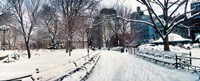"""Snow covered park, Union Square, Manhattan, New York City, New York State, USA by Panoramic Images - 22"""" x 9"""""""