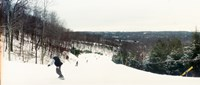 "People skiing and snowboarding on Hunter Mountain, Catskill Mountains, Hunter, Greene County, New York State, USA by Panoramic Images - 21"" x 9"""