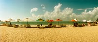 "People relaxing under umbrellas on the beach, Morro De Sao Paulo, Tinhare, Cairu, Bahia, Brazil by Panoramic Images - 21"" x 9"""