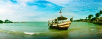 """Wooden boat moored on the beach, Morro De Sao Paulo, Tinhare, Cairu, Bahia, Brazil by Panoramic Images - 24"""" x 9"""""""