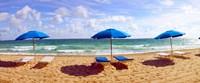 Lounge chairs and beach umbrellas on the beach, Fort Lauderdale Beach, Florida, USA Fine Art Print