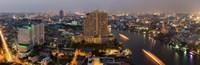 """High angle view of city at dusk, Chao Phraya River, Bangkok, Thailand by Panoramic Images - 28"""" x 9"""""""
