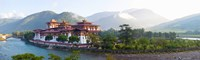"Monastery at the waterfront, Punakha Monastery, Punakha, Bhutan by Panoramic Images - 30"" x 9"""