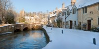 "Buildings along snow covered street, Castle Combe, Wiltshire, England by Panoramic Images - 18"" x 9"""