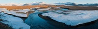 "Snow along a river with mountains in background, Eskey, Hofn, Iceland by Panoramic Images - 30"" x 9"""