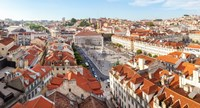 "High angle view of the Rossio Square, Lisbon, Portugal by Panoramic Images - 17"" x 9"""